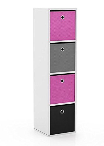 Contemporary Office Collection (Target Marketing Systems Utility Collection Contemporary Bin Bookcase With Four Storage Bins, Designed for Boy's Bedroom, Pink/Gray/Black/White)