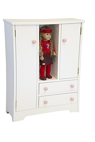 Adorable Doll Deluxe Wardrobe - Perfect for Your Little Girl -White American Made by Amish