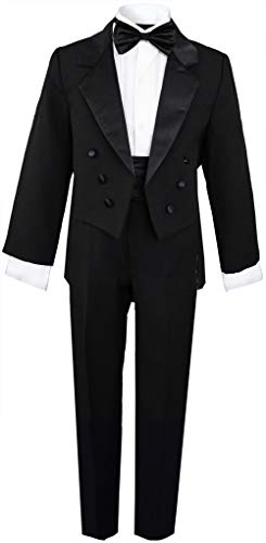 Boys Black Tuxedo with Tail Outfit Set Size 14 -