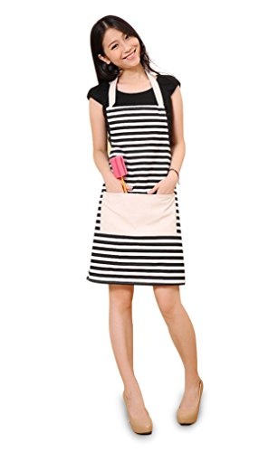 FSK Cotton Canvas Women's Apron with Convenient Pocket Durable Stripe Kitchen and Cooking Apron for Women Professional Stripe Chef Apron for Cooking,Grill and Baking(Black and White) -