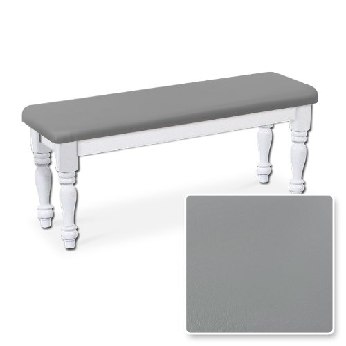 New White Finish Wooden Bench Featuring Your Choice of Padded Seat Cushion Color!