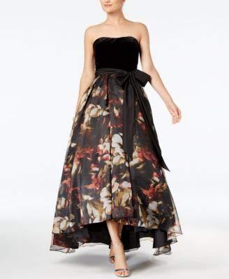 Betsy & Adam Womens Strapless Velvet High Low Gown - Black Velvet Strapless Gown