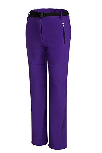 Spvoltereta Outdoor Thick Warm Women Straight Leg Pants Quick Dry Waterproof & Windproof with Fleece Liner for Hiking Trekking Snowmobiling Skiing (X Large, PURPLE)