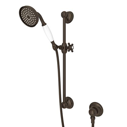 Rohl 1300ETCB Shower Merchandise Pak Country Handshower Set with The 1200 Rail 1100/8E Handshower 16295 Hose and 1295 Wall Outlet, Tuscan Brass
