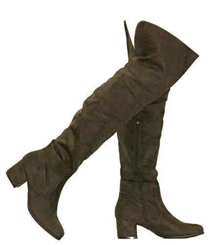 MVE Shoes Women's Over The Knee Stretch Boot - Trendy Low Block Heel Shoe - Sexy Over The Knee Pullon Boot - Comfortable Easy Heel Boot, Olive Size - Shoe High Trendy Heel Block