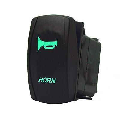 ESUPPORT Car Motor 12V 20A Light Button Rocker Toggle Switch Momentary Green LED Horn Light Speaker 5Pin: Automotive