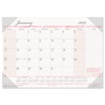 House of Doolittle 2019 Monthly Desk Pad Calendar, Breast Cancer Awareness, 18.5 x 13 Inches, January - December (HOD1466-19)