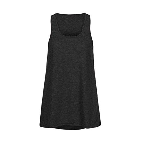 ❤️Femmes Blouse Yoga manches Tank coton Top Gilet Sport solide Noir sans Flowy Tefamore rt8nRqwrZ