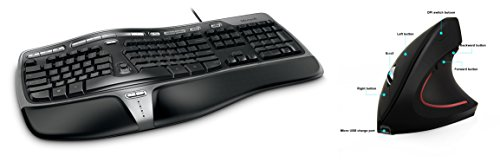 Microsoft Natural Ergonomic-Wired Keyboard 4000 for Business - Wired + Ergy - The Ergonomical Mouse - Wireless Optical Rechargeable Battery Vertical Mouse - 2.4 Ghz, 6 Buttons - Adjustable DPI ()