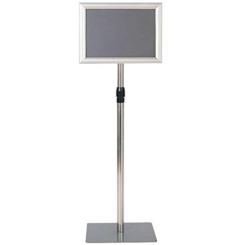 "8.5""x11"" Aluminum Floor Sign Holder Display Height Adjustable Pedestal Poster Stand w/Square Base - Silver with Ebook from NanaPluz"