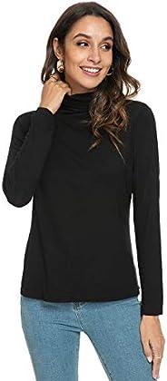 Star Vibe Basic Long Sleeve Mock Turtleneck Shirts for Women Lightweight Slim Turtleneck for Women Active Fit