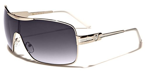 Khan Fashion Men's Square Aviator Style Sunglasses Silver Black Blue Sport - Designer Cheap Shades