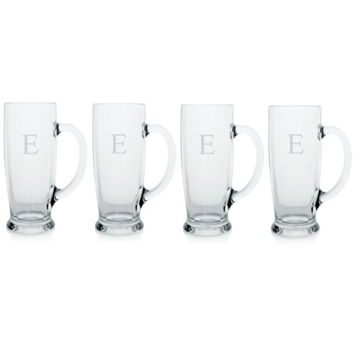 Cathy's Concepts Personalized Craft Beer Mugs, Set of 4, Letter E by Cathy's Concepts (Image #1)