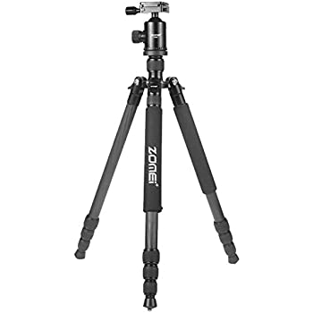 ZOMEI Light Weight Portable Carbon Fiber Travel Complete Tripod Come With Ball Head Carry Case For Digital/Camcorder/DSLR/SLR/Video Camera(Black)