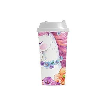 Decorado con flores Unicornio personalizado 16 oz Doble ...