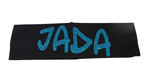 Glittery Stretch Headband with Personalized Name & Customizable Colors - Turquoise Black