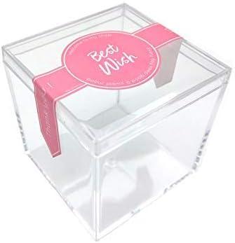 Fulemay - Cajas de Caramelos pequeñas de acrílico Transparente (2 x 2 x 2 Pulgadas), 12 Pack-Pink Stickers: Amazon.es: Hogar