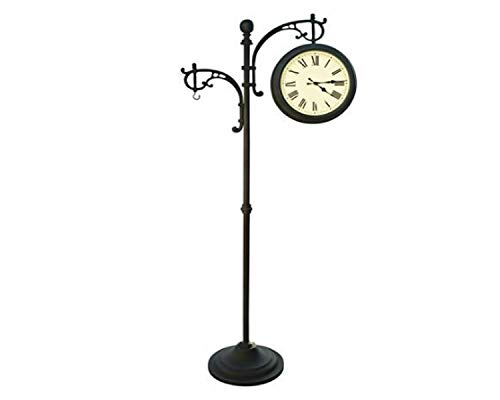 Wisechoice 73 inch H Double Sided Pedestal Clock | Weather Station with Plant Holder