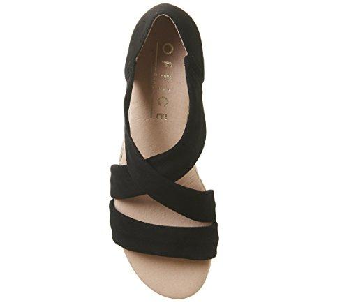 Office Women's Hallie Espadrilles Black Suede With Office Branded Heel Clip rWYnOphbB