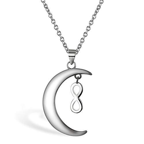 c81be64478db Aroncent Collar Mujer de 925 Plata de Ley Colgante Luna Infinito Cadena  Ajustable Joyería Joya Moda