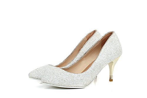 White Material Pointed 38 Heels Toe Shoes PU Closed Soft Kitten Pumps Women's WeiPoot PwUxOtqnRA