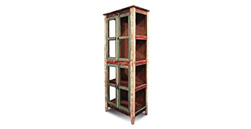 (Crafters and Weavers Crafters and Weavers Rustic Distressed Reclaimed Wood China Cabinet Kitchen Cabinet Glass Bookcase)