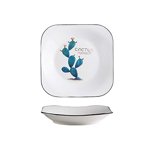 XQJDD Creative home square ceramic plate simple creative household dish can be heated texture cactus square disk 19.2x3.2cm