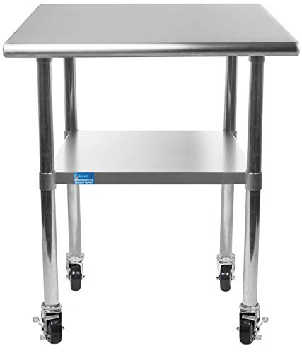 "AmGood Stainless Steel Work Table - with Undershelf & Casters (Wheels) | Food Prep | Utility Work Station | NSF Certified | All Sizes (24"" Length X 24"" Width)"