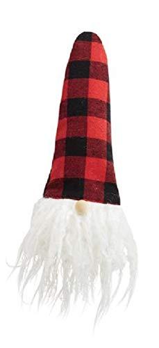 Bearded Gnome Buffalo Plaid Holiday Wine Bottle Topper
