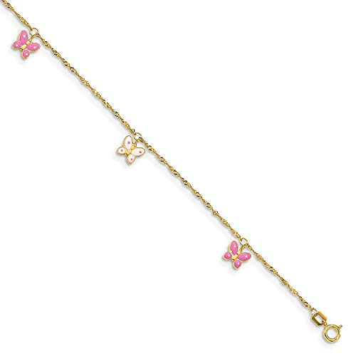 (Black Bow Jewelry 14k Yellow Gold and Enameled Butterfly Adjustable Anklet, 10 Inch)