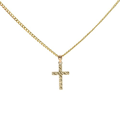 Genuine Stamped 10K Yellow Gold Cuban Curb Link Chain Small Charm Pendant Necklace [ASSORTED SETS] (Latin Cross + 24 Inches Necklace)