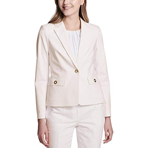 (Calvin Klein Womens Petites Grommet Detail One-Button Blazer Pink 4P)