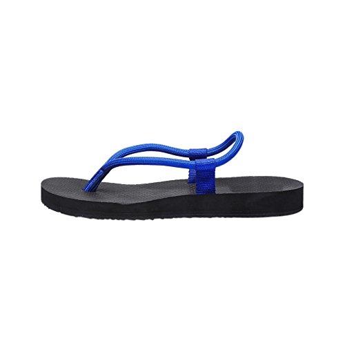 Man Kvinna Par Lätta Enkla Sommaren Färgstarka Flat Sandal Toffel Flätat Rep Flip Flops För Stranden Badrum Blå