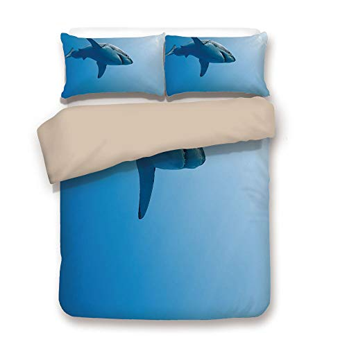 of Khaki,Shark,Fish Swimming in The Ocean Underwater Beauty Tropical Island Water Nature Landscape,Light Blue,Decorative 3 Pcs Bedding Set by 2 Pillow Shams,Full ()