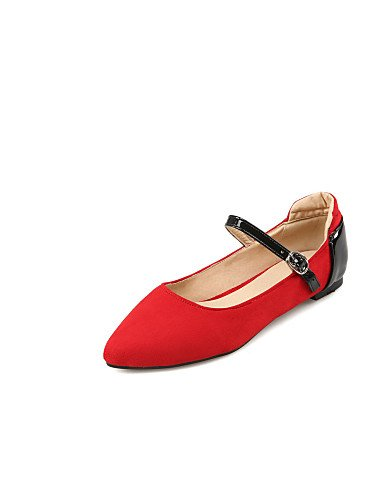 PDX/ Damenschuhe - Ballerinas - Outddor / Büro / Lässig - Mikrofaser - Flacher Absatz - Ballerina / Spitzschuh - Schwarz / Rot / Grau , gray-us8.5 / eu39 / uk6.5 / cn40 , gray-us8.5 / eu39 / uk6.5 / c