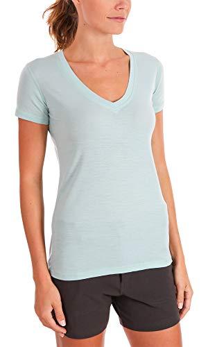 Woolly Clothing Women's Merino Wool V-Neck Tee Shirt - Ultralight - Wicking Breathable Anti-Odor L SFM