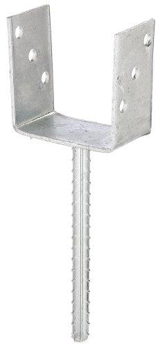 GAH-Alberts 214289 U-Pfostenträger mit Betonanker aus Riffelstahl, feuerverzinkt, lichte Breite: 101 mm