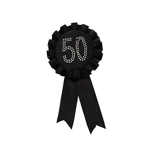 (Baoblaze 2Pcs Novelty Diamante Rhinestone Rose 50th Birthday Rosette Satin Ribbon)