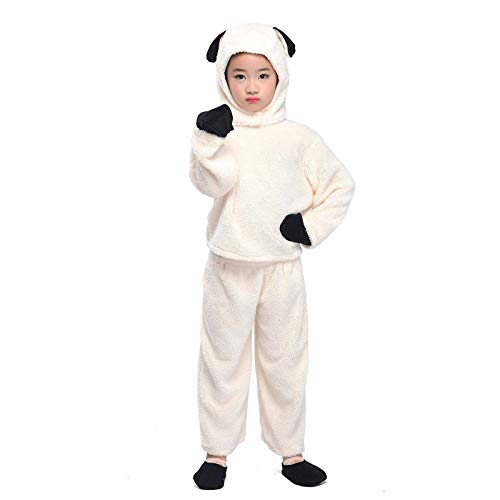 Sheep Costume Kid Animal Pajamas Cosplay Halloween Fancy Dress Jumpsuit Outfit (Sheep, M) -