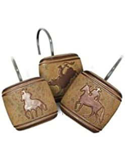 Borders Unlimited Western COWBOY Horse Bathroom SHOWER Curtain HOOKS NEW
