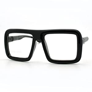 Black Thick Square Glasses Clear Lens Eyeglasses Frame Super Oversized Fashion