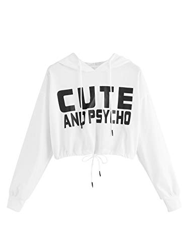 - SweatyRocks Women's Letter Print Long Sleeve Crop Top Sweatshirt Hoodies Z#White S