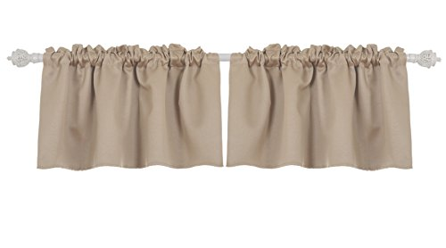 Deconovo Blackout Rod Pocket Curtains Textured Embossed Valance for Kitchen Window 42x18 Inch Khaki 2 (Khaki Valance)