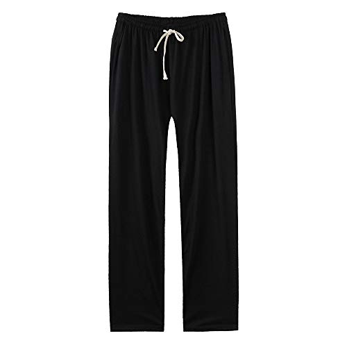 Mens Cotton Loose Joggers Casual Lounge Pajama Gym Workout Yoga Pants Baggy Sports Dancing Jogger Trousers Black