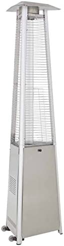 Hiland HLDS01-WCGTSS HLDS01-CGTSS Commerci al Pyramid Glass Tube Propane Patio Heater w/Wheel