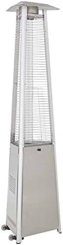 Hiland HLDS01-WCGTSS HLDS01-CGTSS Commerci al Pyramid Glass Tube Propane Patio Heater w/Wheel