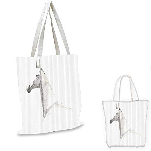Animal small clear shopping bag Watercolors Hand Painted Horse Profile Pony Portrait on White Background Artwork sloth shopping bag Silver White. 16