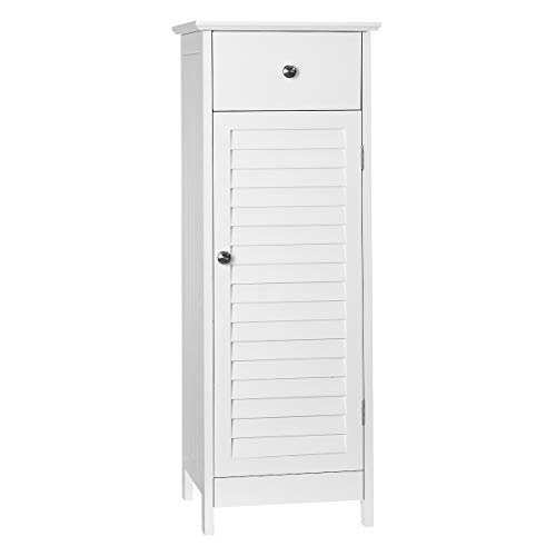 KINGSO Bathroom Floor Storage Cabinet, Standing Cabinet with Drawer and Single Shutter Door for Home Office,12.6×11.8×34…