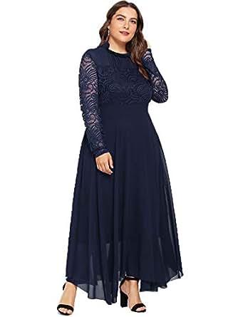 Milumia Women's Vintage Floral Lace Long Sleeve Ruched Neck Flowy Long Dress Navy-Plus Size 0XL