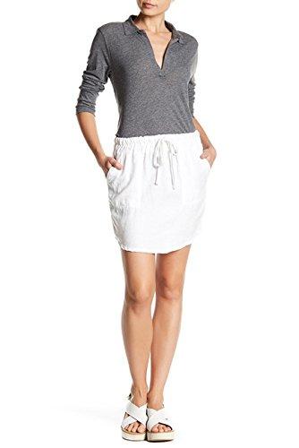 James Perse Women's Curved Hem Drawstring Linen Skirt, White (1) ()